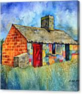Red Door Cottage Canvas Print