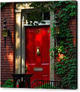 Red Door In Chicago Canvas Print