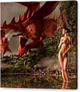 Red Dragon And Nude Bather Canvas Print