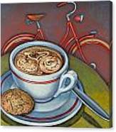 Red Dutch Bicycle With Cappuccino And Amaretti Canvas Print