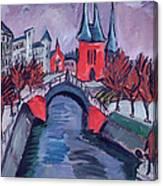 Red Elisabeth Riverbank Berlin Canvas Print