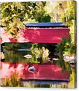 Red Fairhill Covered Bridge Canvas Print