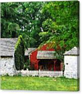 Red Farm Shed Canvas Print