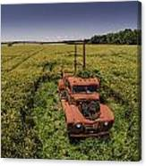 Red Firetruck In The Field Canvas Print