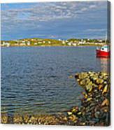 Red Fishing Boat In Twillingate Harbour-nl Canvas Print