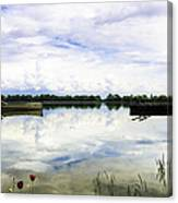 Red Flowers By The Lake. Canvas Print