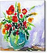 Red Flowers In A Vase Canvas Print
