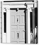 Red Georgian Door With Brass Letterbox Door Knob And Knocker In Dublin Canvas Print