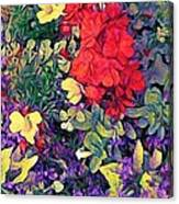 Red Geranium With Yellow And Purple Flowers - Horizontal Canvas Print