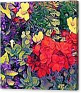 Red Geranium With Yellow And Purple Flowers - Vertical Canvas Print