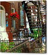 Red Geraniums Verdun Winding Staircases Hanging Flower Basket Montreal Porch Scene Carole Spandau Canvas Print