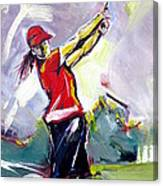 Red Golf Girl Canvas Print