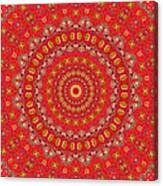 Red Gum Flowers Mandala Canvas Print