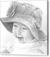 Red Hat Baby Pencil Portrait Canvas Print
