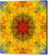 Red Heart Sun Rainbow Mandala Canvas Print