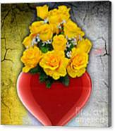 Red Heart Vase With Yellow Roses Canvas Print