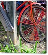 Red Hippie Bike Front Wheel Canvas Print