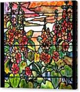 Stained Glass Tiffany Red Hollyhocks In Landscape In Watercolor Canvas Print