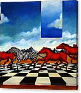 Red Horses With Zebra Canvas Print