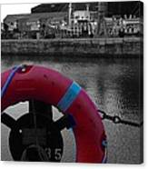 Red Lifebelt At Albert Dock 2 Canvas Print