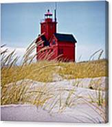 Red Lighthouse By Holland Michigan Known As Big Red Canvas Print