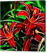 Red Lilies Expressive Brushstrokes Canvas Print