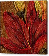 Red Lily Gold Leaf Canvas Print