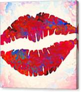 Red Lips Watercolor Painting Canvas Print