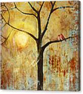 Red Love Birds In A Tree Canvas Print