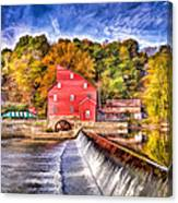 Red Mill Painted Canvas Print