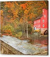 Red Mill With Texture Canvas Print