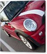 Red Mini-cooper Car On County Road Canvas Print