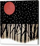 Red Moon And Snow Canvas Print