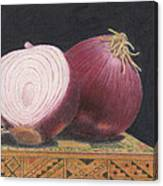 Red Onions On Chess Box Canvas Print
