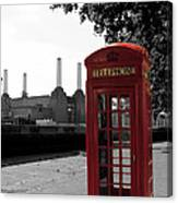 Battersea Power Station And The Red Phone Box Canvas Print