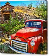 Red Pickup Truck At Santa Fe Canvas Print