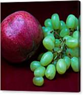 Red Pomegranate And Green Grapes Canvas Print