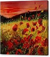 Red Poppies And Sunset Canvas Print