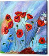 Red Poppy With Dragonfly Canvas Print