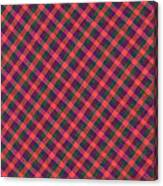 Red Purple And Green Diagonal Plaid Textile Background Canvas Print