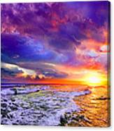 Red Purple Sea Sunset-sun Trail Waves Seascape Canvas Print