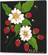 Red Raspberries And Dogwood Flowers Canvas Print