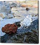 Red Rock And Crystal Water Canvas Print