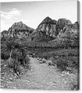 Red Rock Canyon Trailhead Black And White Canvas Print