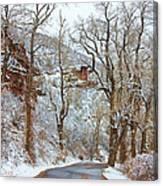 Red Rock Winter Road Portrait Canvas Print