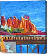 Red Rocks And Railroad Trestle Canvas Print