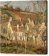Red Roofs In A Village In Winter Canvas Print