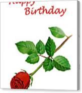 Red Rose Happy Birthday  Canvas Print