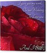 Red Rose Romantic Greeting Card Canvas Print