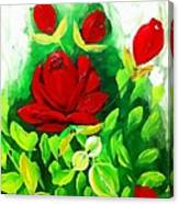 Red Roses From The Garden Impression Canvas Print